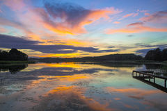 Magic sunset on the lake Royalty Free Stock Photos