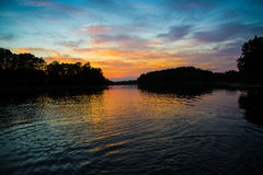 Magic sunset on lake Stock Photography