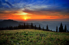 Magic sunset in mountains Royalty Free Stock Image