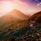 Magic sunset in the mountains of Ukraine Stock Photography