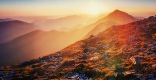 Magic sunset in the mountains of Ukraine. Europe Stock Photo