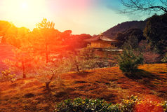 Magic sunset over kinkakuji Temple Royalty Free Stock Image