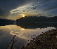 Magic sunset over lake. Sunset over bulgarian lake Beglik Royalty Free Stock Image