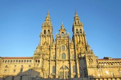 St. james sunset. A magic sunset on the st. james cathedral at santiago de compostela in spain stock photography