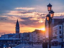 Magic sunset in Venice with view to San Marco Campanile Stock Images