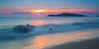 Magic sunset view of the sea. Portugal, Pessegueiro island. Royalty Free Stock Photos
