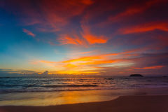 Magic sunset view seascape with beautiful colorful sky and clouds. Stock Photo