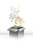 Magic surprise gift-box. With blurry lights and tiny stars, vector illustration vector illustration