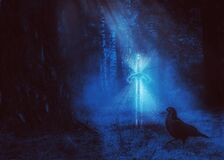 Free Magic Sword In The Night Forest Royalty Free Stock Images - 169251569
