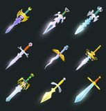 Magic swords isolated vector set. Magic swords cartoon icons set. Collection of decoration weapon for computer game design. Rapier, sabre, broadsword, stiletto Stock Photography