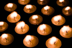 Magic Tea lights. Tea lights ablaze for peace and serenity Royalty Free Stock Photos