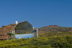 The MAGIC telescope in Roque de los Muchachos Observatory, La Pa Royalty Free Stock Images
