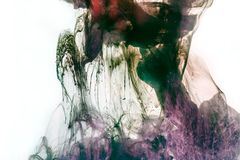 magic texture with violet and dark green watercolor paint stock images
