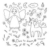 Magic theme doodle set. Various fairytale characters and stuff. Stock Photos
