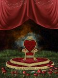 Magic throne. With curtain and mushroom in the nigth vector illustration