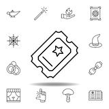 magic ticket outline icon. elements of magic illustration line icon. signs, symbols can be used for web, logo, mobile app, UI, UX stock illustration
