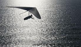 Magic time. Hang glider flies into the setting sun Royalty Free Stock Images