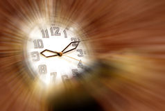 Magic time watch. Vintage watch over golden blurred background Royalty Free Stock Images