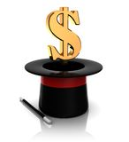 Magic top hat dollar sign. 3d illustration of magic hat with dollar sign Royalty Free Stock Images