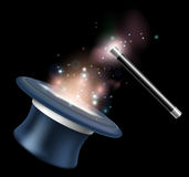 Magic tophat and magic wand Royalty Free Stock Images