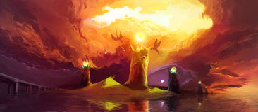 Magic Towers and Dragons. Fantasy Illustration with Magic Towers and Dragons under dark clouds. Scenic Fairytail Illustration about the Struggle between Good and stock illustration
