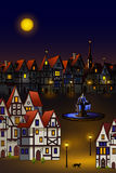 Magic town. Magic medieval town at moon night royalty free illustration