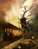 Magic Train. A fantasy background with a magic train Stock Photography