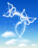 Magic transparent butterflies fly in the sky Royalty Free Stock Images