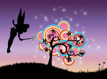 Magic tree. Abstract illustration of fairy and magic tree in summer night Royalty Free Stock Photography