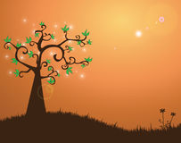 Magic tree. Illustration of abstract tree with sparkles and sun flare vector illustration