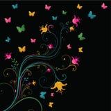 Magic tree. Summer magic tree with butterflies Stock Illustration