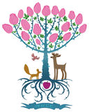 Magic tree with animals Royalty Free Stock Photography