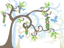 Magic tree baby BOY in a pod vector illustration