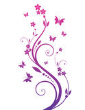 Magic tree with butterflies. Purple magic tree with butterflies Vector Illustration