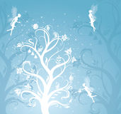 Magic tree with fairies. Magic flower pattern with fairies on the blue background royalty free illustration