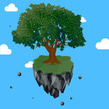 Magic tree on flying rock island royalty free stock photography