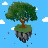 Magic tree on flying rock island Royalty Free Stock Photography