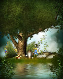 Magic tree with fruits and flowers Stock Image