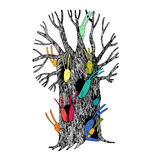 Magic Tree and hares. Hand drawing isolated objects on white background. Vector illustration Stock Photography