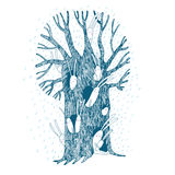 Magic Tree and hares. Hand drawing isolated objects on white background. Vector illustration Royalty Free Stock Images