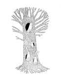 Magic Tree and hares. Hand drawing isolated objects on white background. Vector illustration Royalty Free Stock Photo