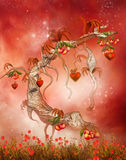 Magic tree with hearts and peaches royalty free illustration