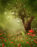 Magic tree with lanterns. On a poppy meadow