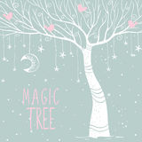 Magic tree night. Beautiful card with silhouette white magic tree at night. Vector illustration Stock Photography