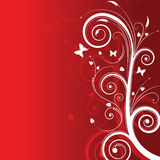Magic tree on red background with space for text. Magic tree with butterflies on red background with space for text Stock Photography