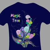 Magic tree - vector print for t-shirt Royalty Free Stock Photo
