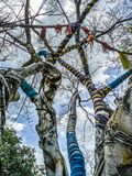 Magic tree whose branches are surrounded by colorful fabrics in Nan Riverside Art Gallery park. Close up and details of colorful tree with colored ribbons stock photography