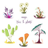 Magic trees and plants set. Isolated elements. Stock Photo