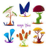 Magic trees set. Isolated elements. Stock Images