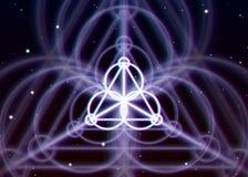 Magic triangle symbol spreads the shiny mystic energy in spiritual space. Magic triangle symbol spreads the mystic energy in spiritual space stock illustration
